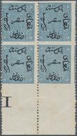 Ägypten: 1866, First Issue 10pia. Slate Blue Horizontal Imperf, Mint Bottom Margin Block Of Four Wit - Ägypten