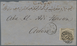 """Ägypten: 1873 Cover From SUEZ To ADEN Franked By Great Britain 6d. Grey (Plate 12) Tied By """"B02"""" Num - Ägypten"""