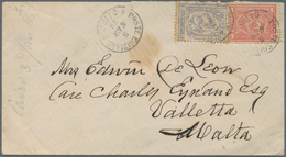 """Ägypten: 1876 Cover From Cairo To MALTA, Franked By 1872-75 20pa. Grey-blue And 1pi. Rose Tied By """"P - Ägypten"""
