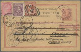 "Ägypten: 1885 ""ROUND THE WORLD"": Sphinx & Pyramid 20pa. Rose Used On German State Wurttemberg Postal - Ägypten"