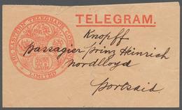 "Ägypten: 1898, Rare Shipping-telegram (form And Envelope) ""The Eastern Telegraph Company - Port Said - Ägypten"