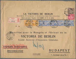 Ägypten: 1910 Printed Envelope Used Registered From Cairo To Budapest, Franked By 1pi. Ultramarine S - Ägypten