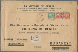 """Ägypten: 1910 Printed """"Business Papers"""" Envelope Used Registered From Alexandria To Budapest, Franke - Ägypten"""