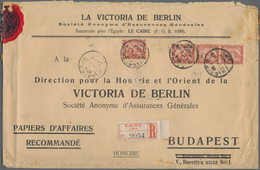 """Ägypten: 1912 Printed """"Papiers D'Affairs"""" Envelope Used Registered From Cairo To Budapest, Franked B - Ägypten"""