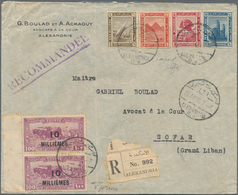 Ägypten: 1914 Pictorials 1m., 4m., 5m. And 10m. ALL IMPERF, Used Along With 1926 10m. On 100m. Pair - Ägypten