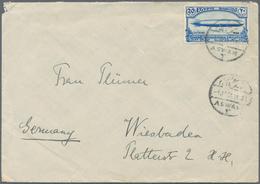 Ägypten: 1933, 20 M Blue 'Aviation Congress - Zeppelin', Exact Rate Single Franking On Cover From AS - Ägypten