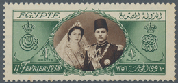 Ägypten: 1938, 1 Pound Green/brown Unmounted Mint, Two Perf. Tips Somewhat Brownish. - Ägypten