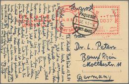 "Ägypten: 1954, ""0037 Miles"" Franking Machine And Postmark ""PAQUETBOT PORT SAID"" On Souvenir Postcard - Ägypten"