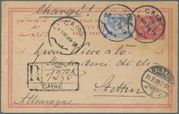 Ägypten - Ganzsachen: 1899 Postal Stationery Card 5m. Used REGISTERED From Cairo To Stettin, Germany - Ägypten