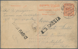 Ägypten - Ganzsachen: 1918 CRASH MAIL: Postal Stationery Card 4m. Red Used From Cairo To Naples, Ita - Ägypten
