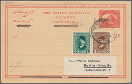 Ägypten - Ganzsachen: 1923 Provisional 4m. (overprinted Sender Part Of 4+4m. Card For Use As Single - Ägypten