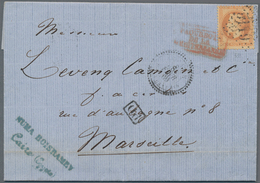 Ägypten - Schiffspost: 1869, Entire Franked With French 40 Cent. Napoleon Sent From CAIRO To Marseil - Ägypten