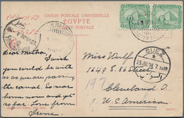 Ägypten - Schiffspost: 1908, ITALIAN MARITIME MAIL: Egypt, 2 X 2 M Green, Tied By Cds DOM ENICO BALD - Ägypten