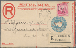 Barbados: 1899/1904, Two Registered Letters QV 2d. Blue In Different Sizes With Imprint 'Thos. De La - Barbados (1966-...)