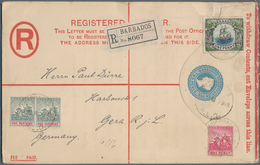 Barbados: 1908 (6.10.), Registered Letter QV 2d. Blue (scarce Large Size 200 X 127 Mm) With Imprint - Barbados (1966-...)