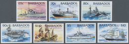 """Barbados: 1994. Complete Definitives Set """"Ships"""" (14 Values; Without Year) In IMPERFORATE Single Sta - Barbados (1966-...)"""
