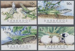 Barbados: 2005, Lizard 'Barbados Anole (Anolis Extremus)' Complete IMPERFORATE Set Of Four, Mint Nev - Barbados (1966-...)