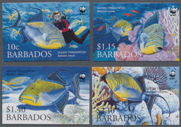 Barbados: 2006, WWF 'Queen Triggerfish (Balistes Vetula)' Complete IMPERFORATE Set Of Four, Mint Nev - Barbados (1966-...)