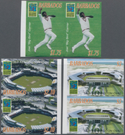 Barbados: 2007, Cricket World Cup Complete Set Of Three In Horiz. Or Vertical IMPERFORATE Pairs And - Barbados (1966-...)