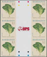 Barbados: 2008. IMPERFORATE Vertical Gutter Block Of 3 Horizontal Pairs For The $2 Value Of The ALGA - Barbados (1966-...)