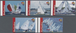 Barbados: 2010, Sailing Complete IMPERFORATE Set Of Five Showing Different Boats And Scenes, Mint Ne - Barbados (1966-...)