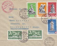 DON NATIONAL ET CHROIX ROUGE 9.v.1940. Zu: B2+B4+B5+B6 + 2x F4 / Mi: 2x 213x +364+365+366b+367. Nach Solothurn - Covers & Documents