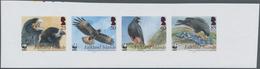 Falklandinseln: 2006, Birds Of Prey, IMPERFORATE Proof Se-tenant Strip Of Four, Mint Never Hinged. - Falkland Islands