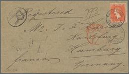 "St. Vincent: 1895, 1 Sh. Red-orange Single Franking With Circle Cancel KINGSTOWN Via ""REGISTERED LON - St.Vincent (1979-...)"