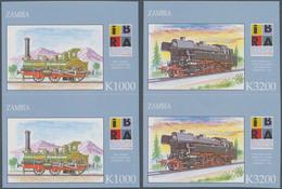 Sambia: 1999, International Stamp Exhibition IBRA In Nuremberg Complete Set Of Two (german Steam Loc - Zambia (1965-...)