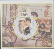 Sambia: 1999, Royal Wedding Of Prince Edward And Sophie Rhys-Jones IMPERFORATE Miniature Sheet, Mint - Zambia (1965-...)