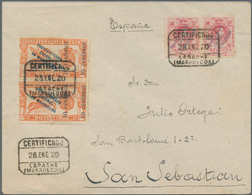 Spanisch-Marokko: 1920, Registered Express Letter From LARACHE Franked With 40 Cs. Alfons XIII Impri - Spanisch-Marokko