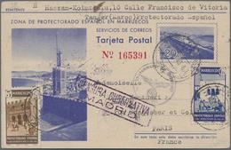 Spanisch-Marokko: 1943, Spanish Morocco Posta Stationery Card 20c Blue Upgraded With SG 353, 5c Brow - Spanisch-Marokko