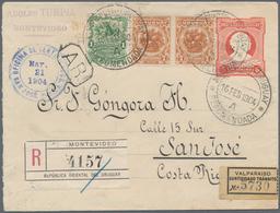 Uruguay - Ganzsachen: 1903, Stationery Envelope 5 C Red Uprated 1 C Green, And Pair 7 C Brown-orange - Uruguay