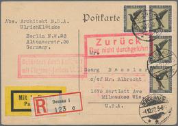 Flugpost Deutschland: 1927, ERSTE LUFTPOST DESSAU-NEW YORK, 4 X 3 M Flugpost 'Adler', Mehrfachfranka - Luftpost