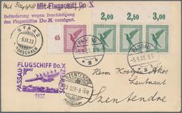 """Flugpost Deutschland: 1933, """"Flugschiff Do.X PASSAU-SCHWEIZ""""/""""...wegen Beschädigung Verzögert"""" Karte - Luftpost"""