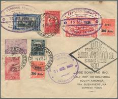 DO-X - Flugpost: 1931 EXPRESO TOBON: DOX Cover From Rio De Janeiro To Cali, Colombia Via Buenaventur - Luftpost