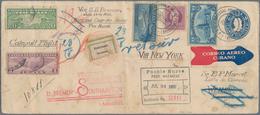 Katapult- / Schleuderflugpost: 1932, Cuba, 5 C Blue Postal Stationery Envelope, Uprated With 3 C Vio - Luftpost
