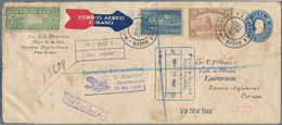 Katapult- / Schleuderflugpost: 1932, Cuba, 5 C Blue Postal Stationery Envelope, Uprated With 10 C Ye - Luftpost