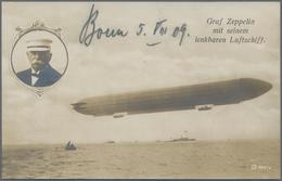 Zeppelinpost Deutschland: 1909, LZ 5 (Z II) / Bonn 5.8.: Zeppelin-Fotokarte V. Der Heeresüberfahrt M - Luftpost
