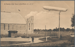 Zeppelinpost Deutschland: 1910, Zwei Dekorative Ansichtskarten: Parseval-Luftschiff VI, Karte Ab Kie - Luftpost