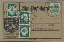 Zeppelinpost Deutschland: 1912, FLUGPOST RHEIN-MAIN, 3-mal 30 Pfg. Flugpostmarke Mit 5 Pfg. Germania - Luftpost