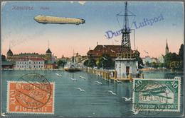 Zeppelinpost Deutschland: 1919, Bodensee-Post, Dt.Reich 10 Pf U. 40 Pf Flugpostmarken (Mi.111/112), - Luftpost