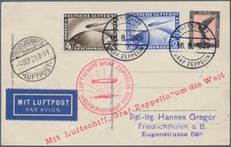 Zeppelinpost Deutschland: 1929, Si. 30Bd, WELTRUNDFAHRT/ETAPPE FHFN-FHFN: Bordpost-Luxuskarte Mit 4 - Luftpost