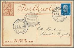 """Zeppelinpost Deutschland: 1929, SCHWEIZFAHRT (1.)/Abwurf LAUSANNE (Ankunftstempel """"*POSTE AERIENNE S - Luftpost"""