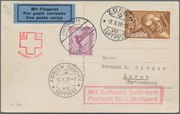 """Zeppelinpost Deutschland: 1929, SCHWEIZ/4. SCHWEIZFAHRT: Abwurfkarte Mit """"ZÜRICH VIII LUFTPOST 2.X.2 - Luftpost"""