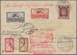 Zeppelinpost Deutschland: 1931, SAAR / UNGARNFAHRT: 11 Marken Vertragsstaatenkarte Via FHFN-Budapest - Luftpost