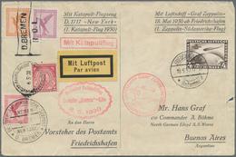 Zeppelinpost Deutschland: 1930, Südamerikafahrt, Kombinationsbrief Katapultpost/Zeppelin, Zuerst Bef - Luftpost