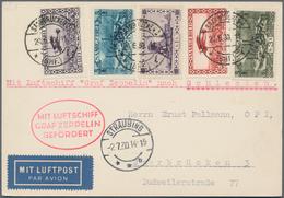 Zeppelinpost Deutschland: 1930, SAAR/ALPENFAHRT/Abwurf Straubing, Seltene Vertragsstaatenkarte, Port - Luftpost