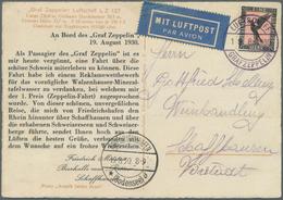 Zeppelinpost Deutschland: 1930: SCHWEIZFAHRT: Bordpost-Passagier-Reklamekarte Vom Besitzer Der Bierh - Luftpost