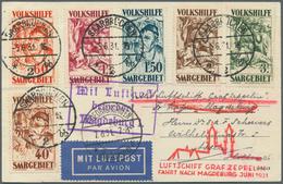 Zeppelinpost Deutschland: 1931, SAAR/MAGDEBURG-FAHRT: Volkshilfe (Mi. 144/49, Stockflecken) Auf Vert - Luftpost
